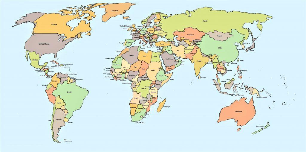 mapamundi politico nombres paises