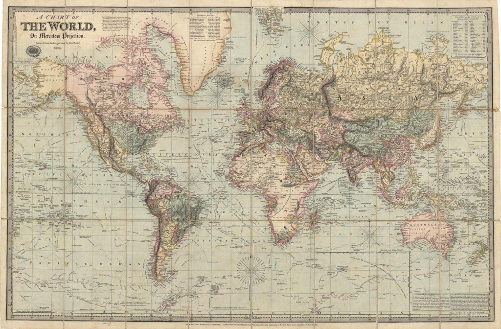 mapa mundi antiguo vintage