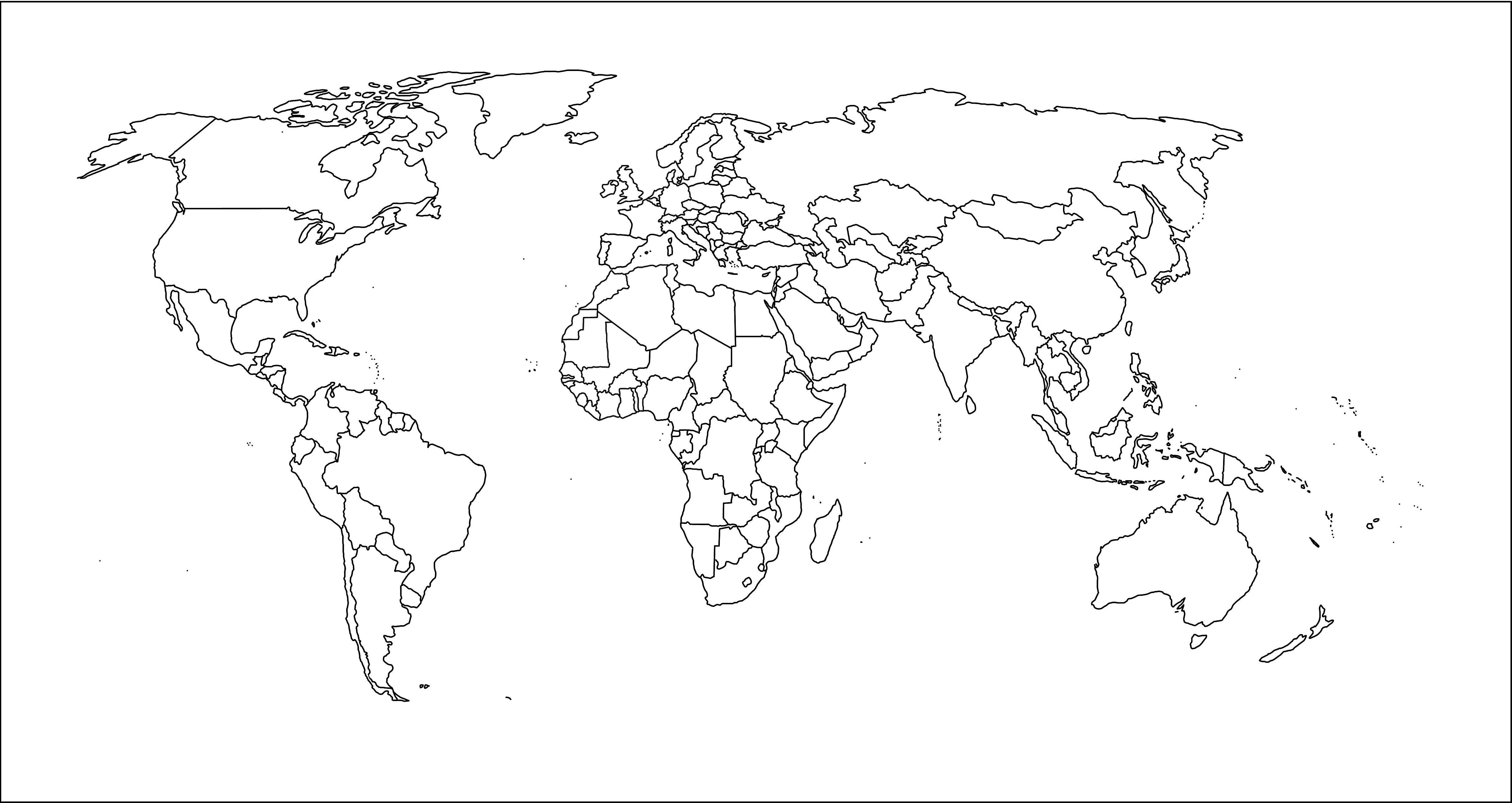 Niños De Paises Para Pintar: Mapa Planisferio Politico Para Pintar